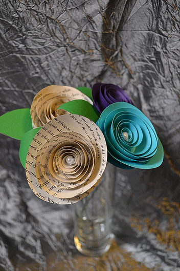 Paper rolled roses wedding flowers