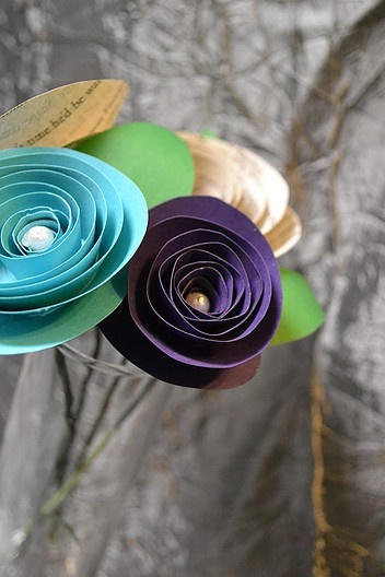 Rolled paper roses created by Eventistry