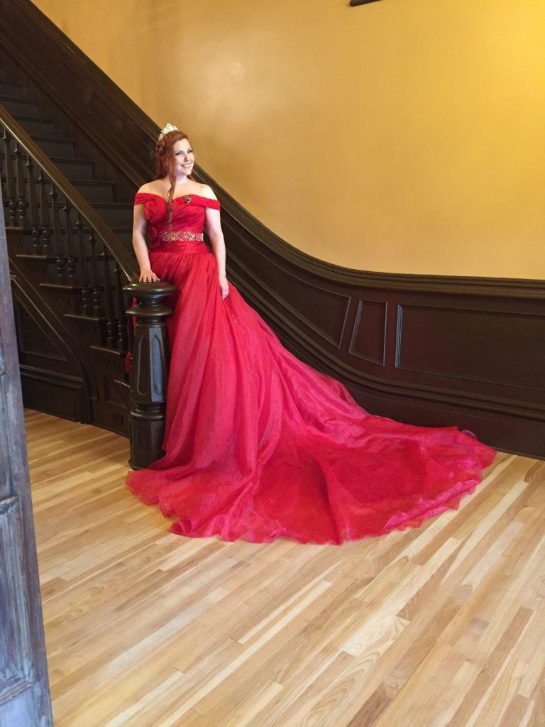 Bride in red wedding dress