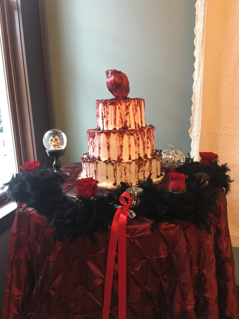Edgar Allen Poe themed wedding cake