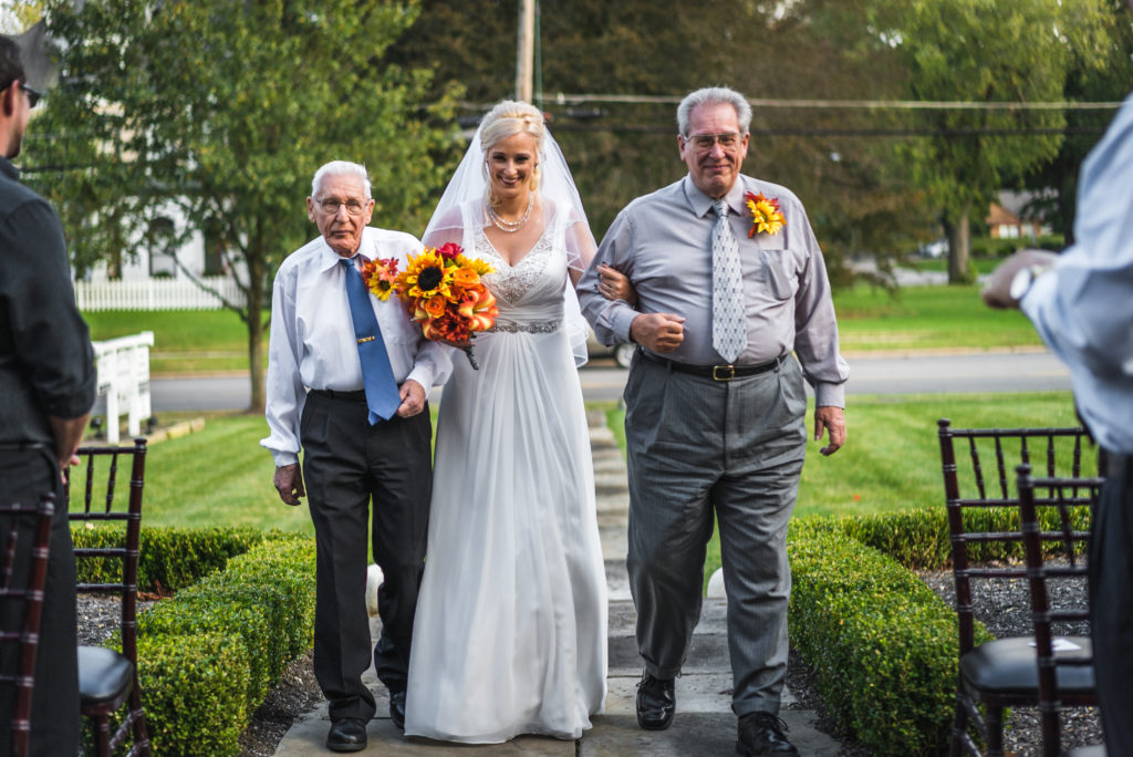 bride, father and grandfather