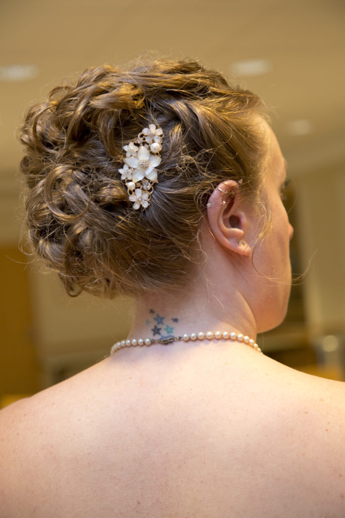 bride with her hair done up
