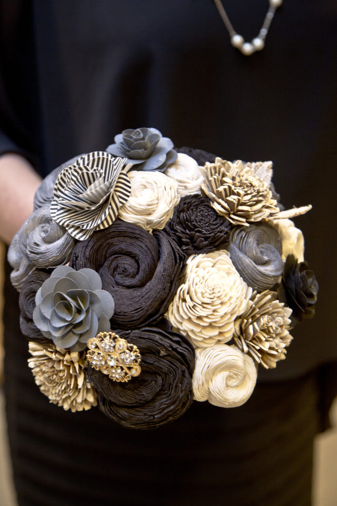 wedding bouquet of wood sola flowers