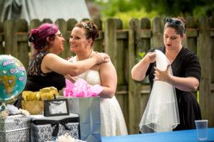 bride hugging wedding planner