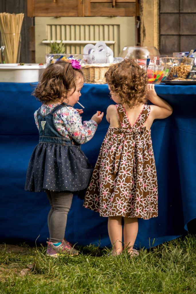 two little girls at candy bar