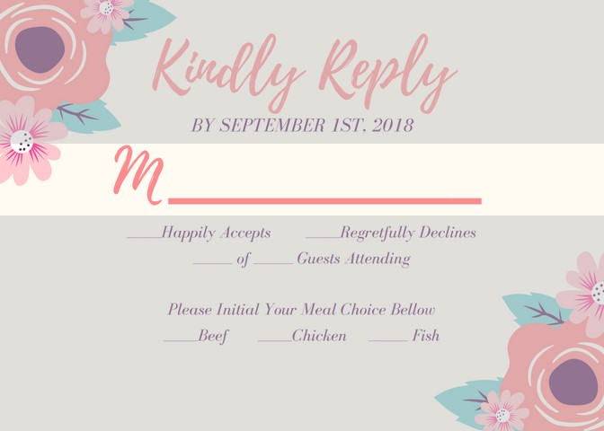 Cleveland wedding coordinator RSVP card