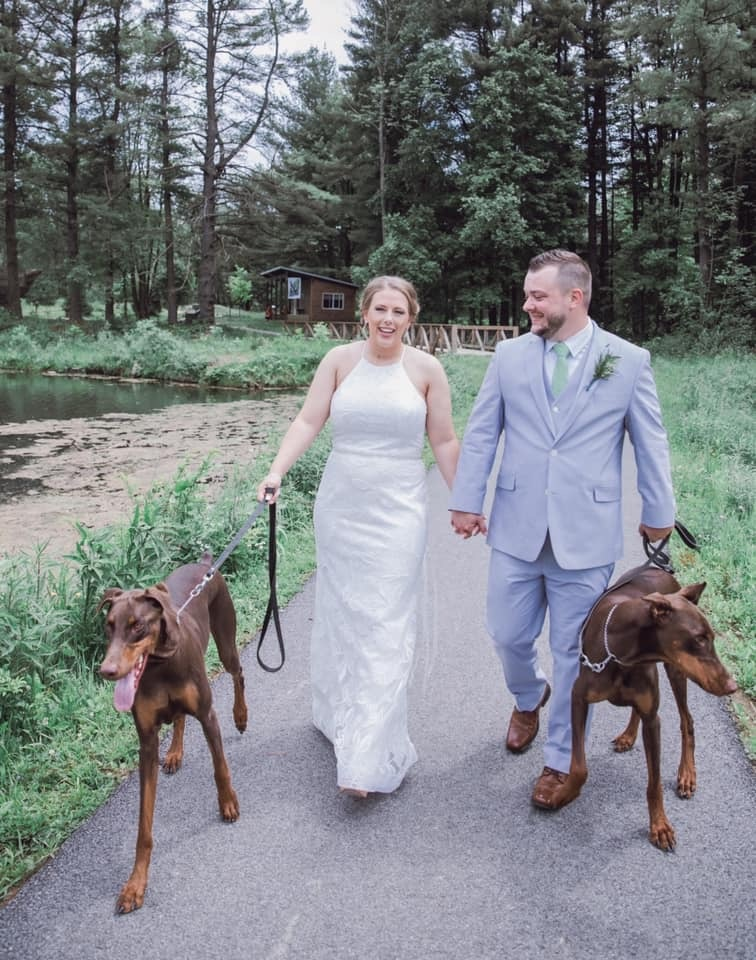 cleveland wedding planner bride and groom and dogs