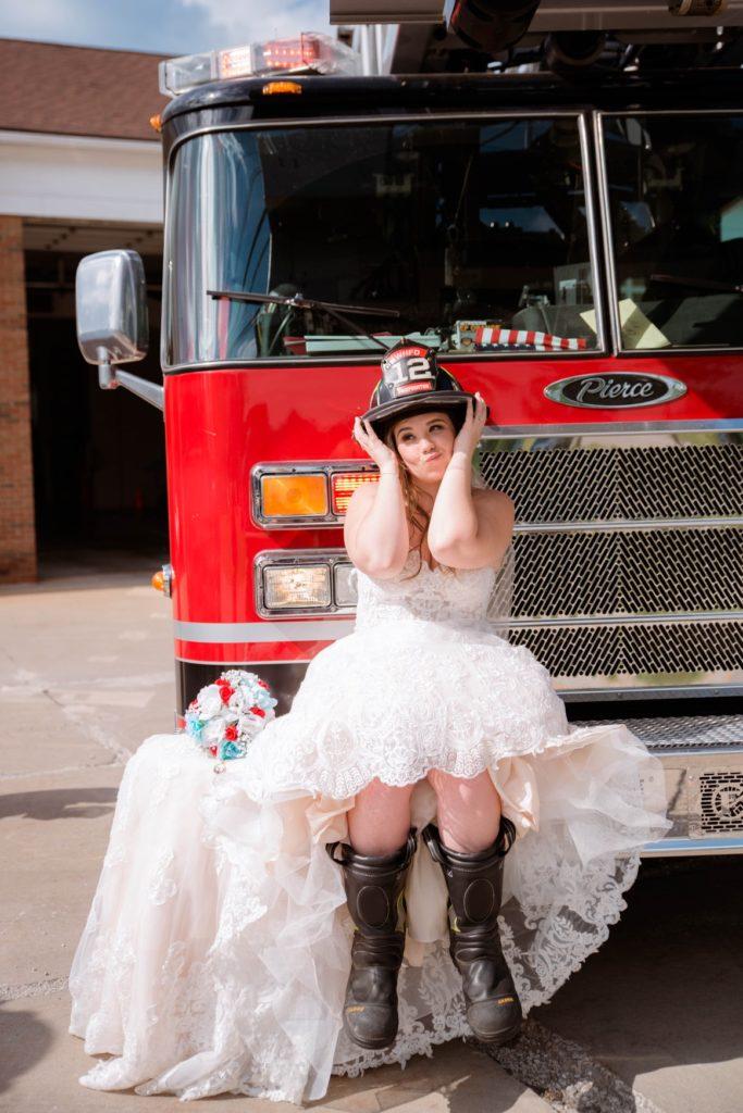 Cleveland wedding planner bride on firetruck